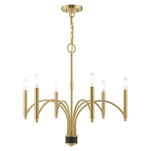 Wisteria Satin Brass 26-Inch Six-Light Chandelier