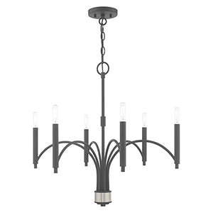 Wisteria Scandinavian Gray 26-Inch Six-Light Chandelier
