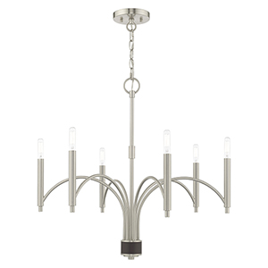 Wisteria Brushed Nickel 26-Inch Six-Light Chandelier