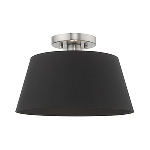 Belclaire Brushed Nickel 13-Inch One-Light Ceiling Mount with Hand Crafted Black Hardback Shade