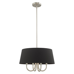 Belclaire Brushed Nickel 18-Inch Four-Light Pendant Chandelier with Hand Crafted Black Hardback Shade