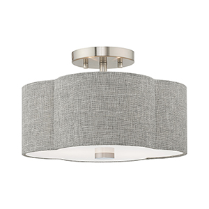 Kalmar Brushed Nickel 13-Inch Two-Light Ceiling Mount with Hand Crafted Gray Hardback Shade