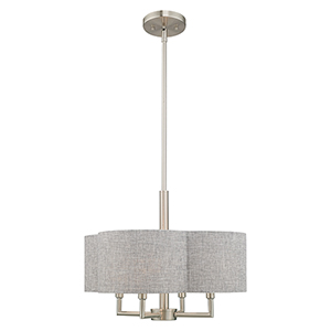 Kalmar Brushed Nickel 18-Inch Four-Light Pendant Chandelier with Hand Crafted Gray Hardback Shade