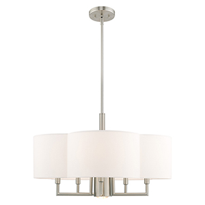 Chelsea Brushed Nickel 24-Inch Six-Light Pendant Chandelier with Hand Crafted Off-White Hardback Shade