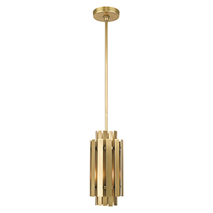 Greenwich Natural Brass 6-Inch One-Light Mini Pendant with Natural Brass Metal Shade