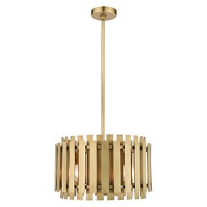 Greenwich Natural Brass Five-Light Pendant Chandelier