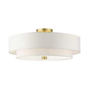 Meridian Satin Brass 22-Inch Five-Light Semi-Flush Mount