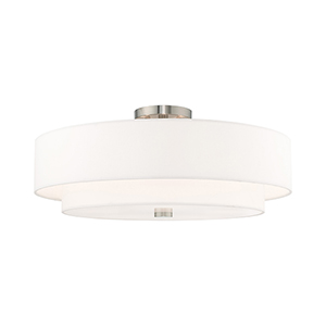 Meridian Brushed Nickel 22-Inch Five-Light Ceiling Mount with Hand Crafted Off-White Hardback Shade