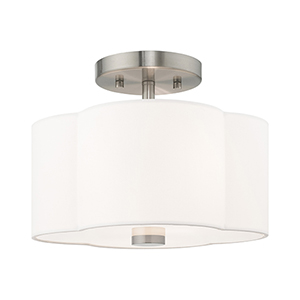 Chelsea Brushed Nickel 11-Inch Two-Light Ceiling Mount with Hand Crafted Off-White Hardback Shade