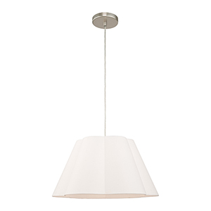 Chelsea Brushed Nickel 18-Inch One-Light Pendant with Hand Crafted Off-White Hardback Shade
