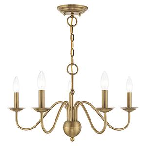 Windsor Antique Brass Five-Light Chandelier