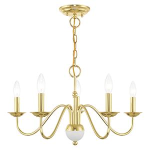 Windsor Polished Brass Five-Light Chandelier