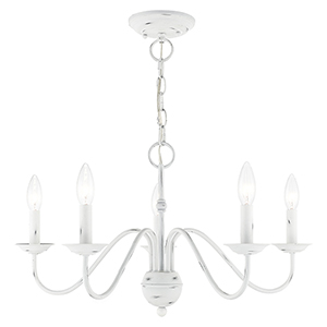 Windsor Antique White Five-Light Chandelier
