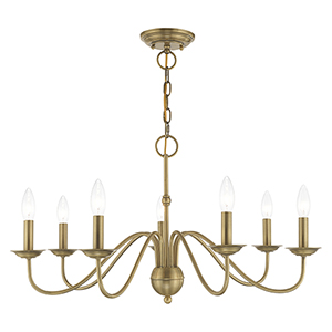 Windsor Antique Brass Seven-Light Chandelier