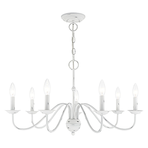 Windsor Antique White Seven-Light Chandelier