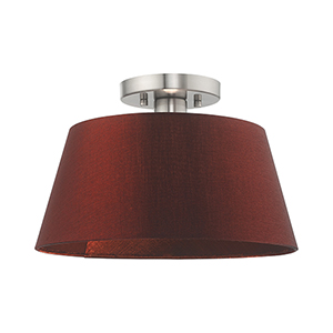Belclaire Brushed Nickel 13-Inch One-Light Ceiling Mount with Hand Crafted Red Wine Hardback Shade