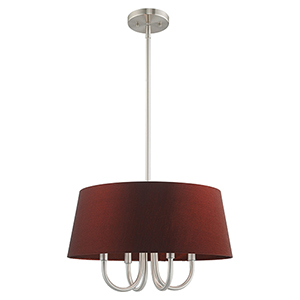 Belclaire Brushed Nickel 18-Inch Four-Light Pendant Chandelier with Hand Crafted Red Wine Hardback Shade