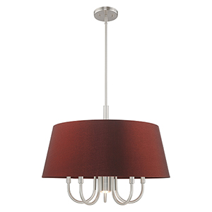 Belclaire Brushed Nickel 24-Inch Six-Light Pendant Chandelier with Hand Crafted Red Wine Hardback Shade