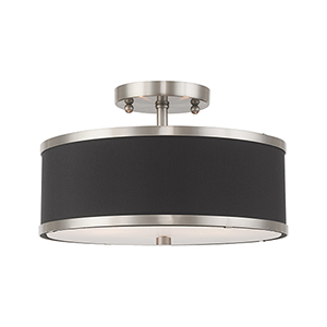 Park Ridge Brushed Nickel 13-Inch Two-Light Ceiling Mount with Hand Crafted Black Hardback Shade