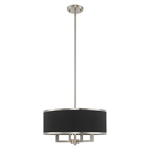 Park Ridge Brushed Nickel 18-Inch Four-Light Pendant Chandelier with Hand Crafted Black Hardback Shade