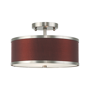 Park Ridge Brushed Nickel 13-Inch Two-Light Ceiling Mount with Hand Crafted Red Wine Hardback Shade