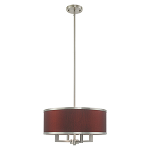 Park Ridge Brushed Nickel 18-Inch Four-Light Pendant Chandelier with Hand Crafted Red Wine Hardback Shade