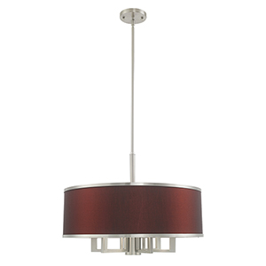 Park Ridge Brushed Nickel 24-Inch Seven-Light Pendant Chandelier with Hand Crafted Red Wine Hardback Shade