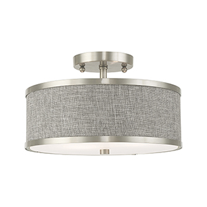 Park Ridge Brushed Nickel 13-Inch Two-Light Ceiling Mount with Hand Crafted Gray Hardback Shade