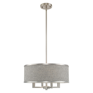 Park Ridge Brushed Nickel 18-Inch Four-Light Pendant Chandelier with Hand Crafted Gray Hardback Shade