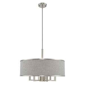 Park Ridge Brushed Nickel 24-Inch Seven-Light Pendant Chandelier with Hand Crafted Gray Hardback Shade