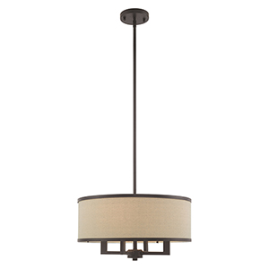 Park Ridge Bronze 18-Inch Four-Light Pendant Chandelier with Hand Crafted Ash-Gray Linen Hardback Shade