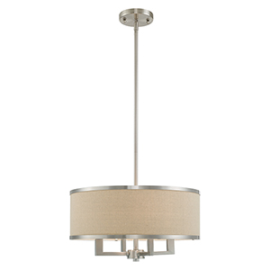 Park Ridge Brushed Nickel 18-Inch Four-Light Pendant Chandelier with Hand Crafted Ash-Gray Linen Hardback Shade