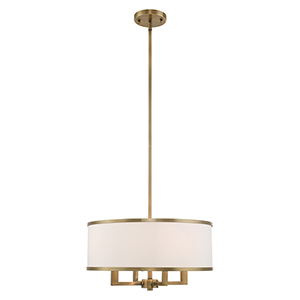 Park Ridge Antique Brass 18-Inch Four-Light Pendant Chandelier with Hand Crafted Off-White Hardback Shade