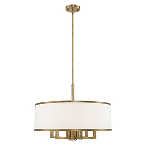 Park Ridge Antique Brass 24-Inch Seven-Light Pendant Chandelier with Hand Crafted Off-White Hardback Shade