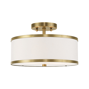 Park Ridge Antique Brass 13-Inch Two-Light Ceiling Mount with Hand Crafted Off-White Hardback Shade