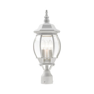 Frontenac Textured White Nine-Inch Three-Light Outdoor Post Lantern
