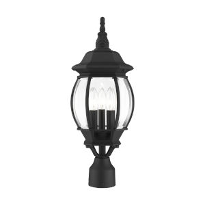 Frontenac Textured Black Nine-Inch Three-Light Outdoor Post Lantern