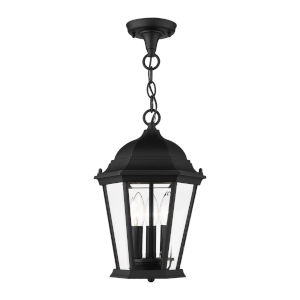Hamilton Textured Black 10-Inch Three-Light Outdoor Pendant Lantern