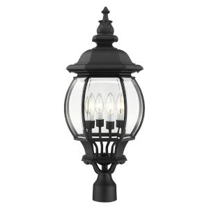Frontenac Textured Black 12-Inch Four-Light Outdoor Post Lantern
