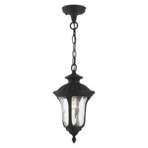 Oxford Textured Black Seven-Inch One-Light Outdoor Pendant Lantern