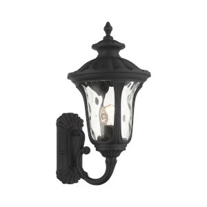 Oxford Textured Black Nine-Inch One-Light Outdoor Uplight Wall Lantern