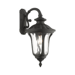 Oxford Textured Black Nine-Inch One-Light Outdoor Down Light Wall Lantern