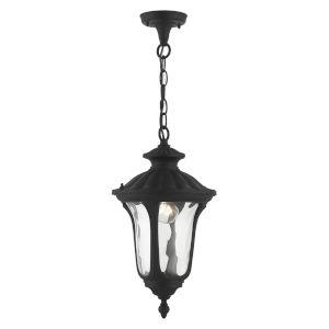 Oxford Textured Black 10-Inch One-Light Outdoor Pendant Lantern