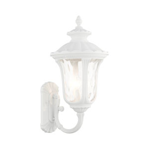 Oxford Textured White Three-Light Outdoor Wall Lantern