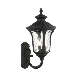 Oxford Textured Black 11-Inch Three-Light Outdoor Uplight Wall Lantern