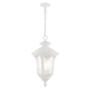 Oxford Textured White Three-Light Outdoor Pendant
