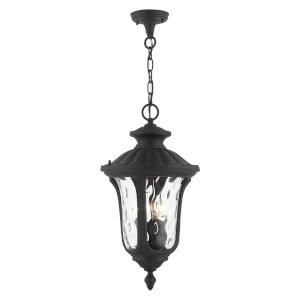 Oxford Textured Black Three-Light Outdoor Pendant