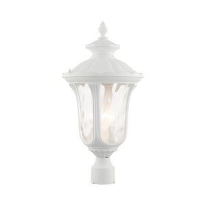 Oxford Textured White 11-Inch Three-Light Outdoor Post Lantern
