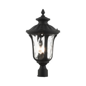 Oxford Textured Black 11-Inch Three-Light Outdoor Post Lantern
