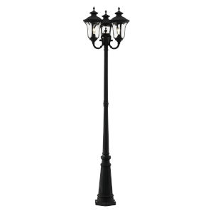 Oxford Textured Black 23-Inch Three-Light Outdoor Post Lantern